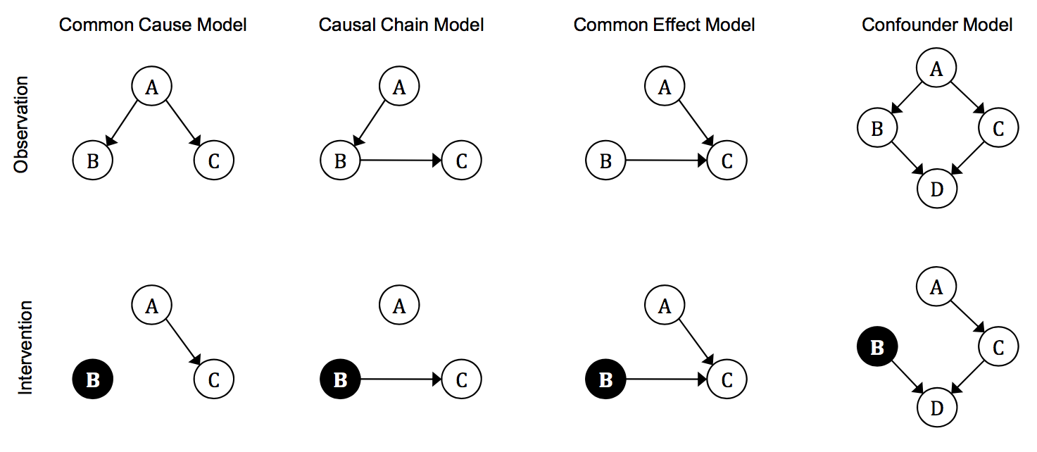 observing and intervening: rational and heuristic models of causal decision  making